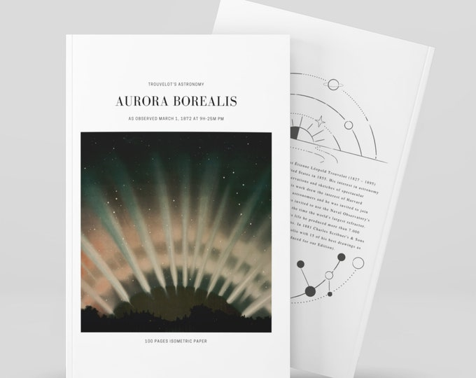 Aurora Borealis, Trouvelot's Astronomy Notebook, Isometric Paper