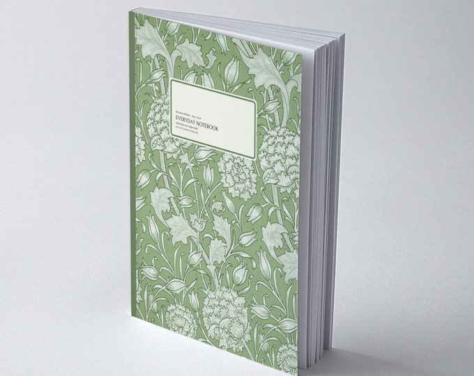 William Morris: Green Wild Tulip, Everyday Dot Grid Notebook