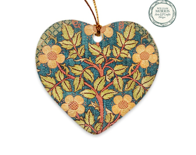 William Morris: Rose Wreath, Christmas Porcelain Ornament
