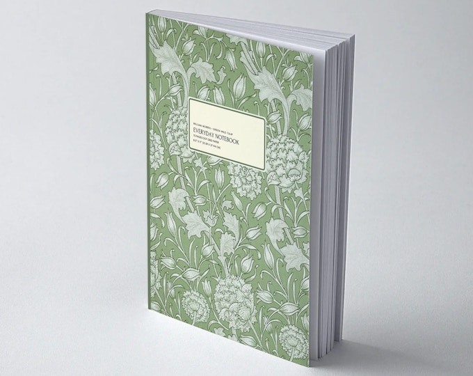 William Morris: Green Wild Tulip, Everyday Dot Grid Notebook
