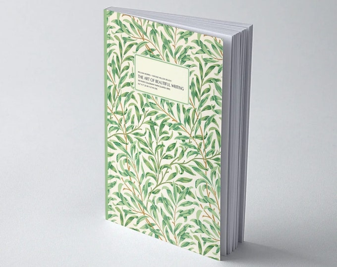 William Morris: Vintage Willow Bough, The Art of Beautiful Writing, Calligraphy Paper (slanted grid)