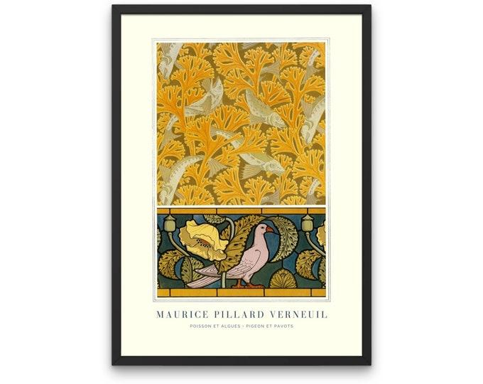 Maurice Pillard Verneuil: Poisson et algues • pigeon et pavots