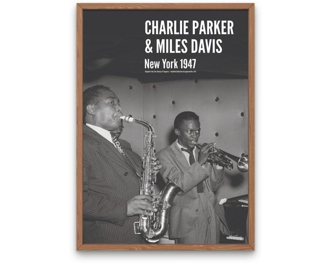 Charlie Parker & Miles Davis: New York 1947 | Vertical Print | Wall Art | Office Décor | Art Print | Jazz Poster | The Golden Age of Jazz