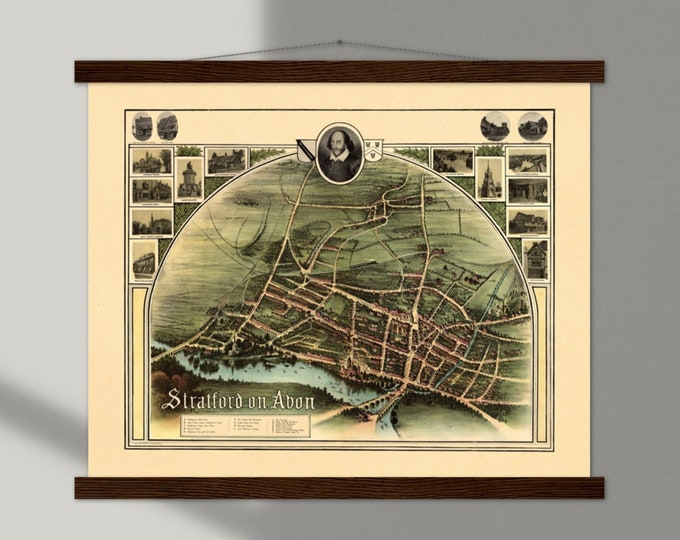 Art Print: Stratford on Avon, home of  William Shakespeare   Framed vintage maps   Vintage city maps   Vintage road maps