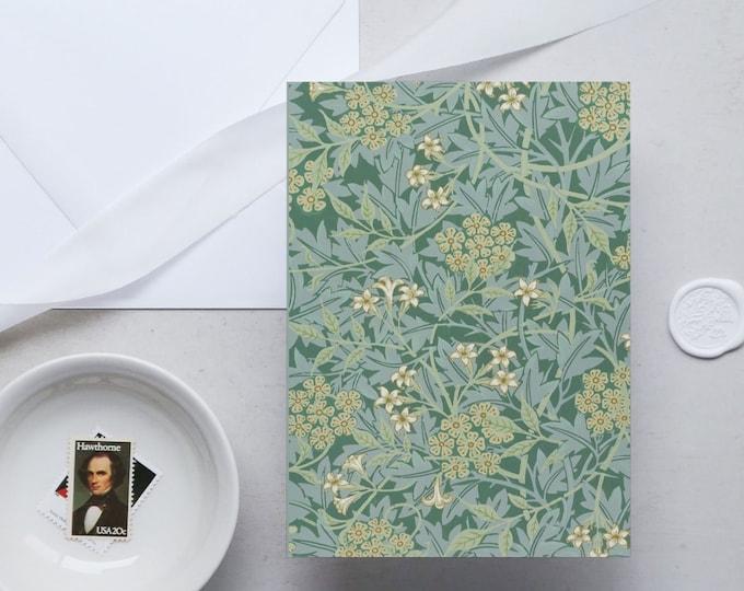 William Morris Greeting Card Set: Green Jasmine | Congratulation card | Blank Place card | Fine art greeting cards | William Morris gifts