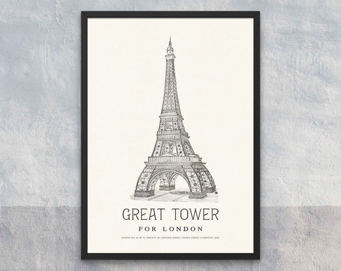 The Great Tower for London: Design No. 66 | Vertical Print | Wall Art | Office Décor | Art Print | Architecture Poster | Wembley Park London