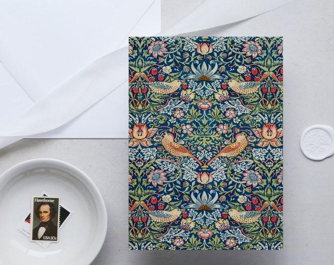 William Morris Greeting Card Set: Strawberry Thief | Congratulation card | Blank Place card | Fine art greeting cards | William Morris gifts