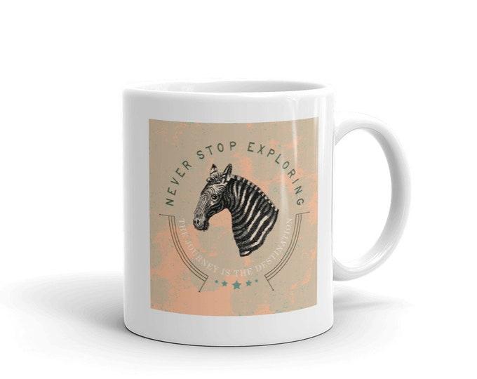 Never stop exploring, Coffee mug