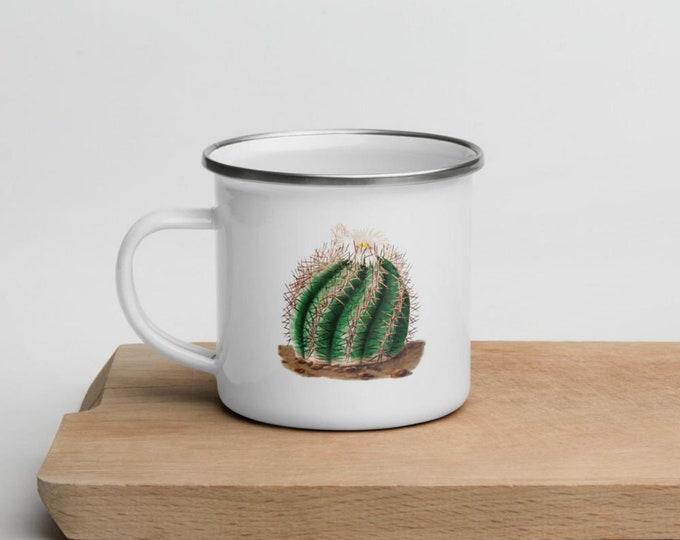 Turk's Head Cactus, Personalised Enamel Mug