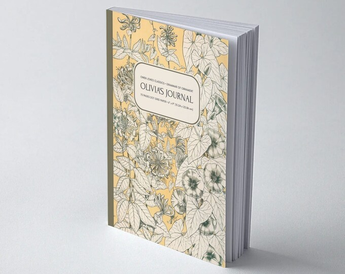 Owen Jones Classics: Grammar of Ornament, Leaves from Nature No. 9 | Personalised | Bullet Journal | Wide Ruled Line | Blank | Graph 5x5