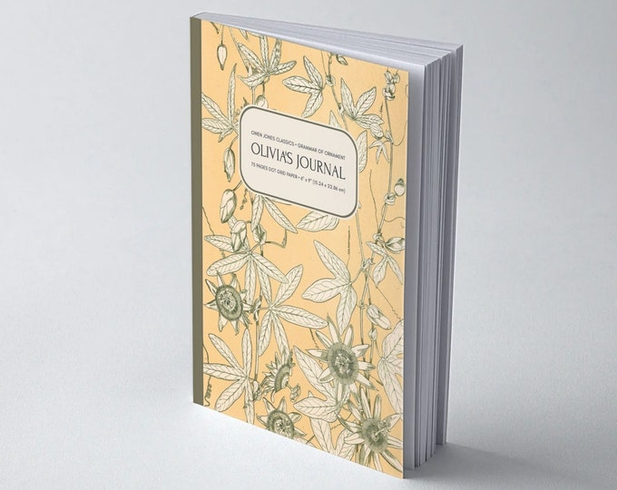 Owen Jones Classics: Grammar of Ornament, Leaves from Nature No. 10 | Personalised | Bullet Journal | Wide Ruled Line | Blank | Graph 5x5