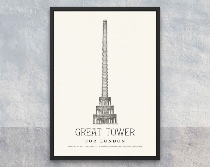 The Great Tower for London: Design No. 19 | Vertical Print | Wall Art | Office Décor | Art Print | Architecture Poster | Wembley Park London