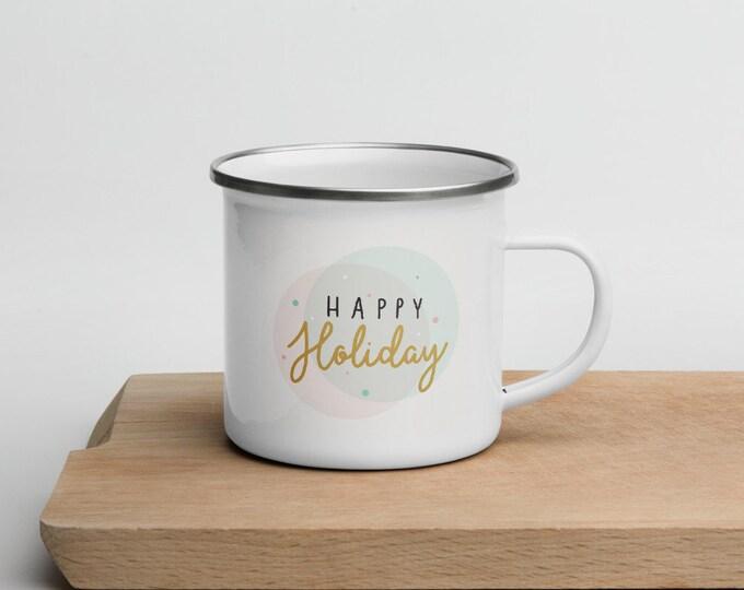 Happy Holiday, Enamel Mug