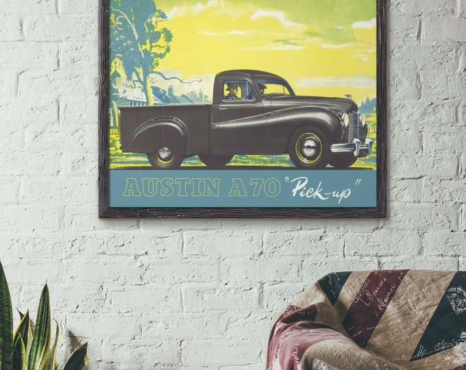 Austin A70 Pick Up: Classic car poster | Classic car wall art | Classic car poster | Transport prints | Transport wall art