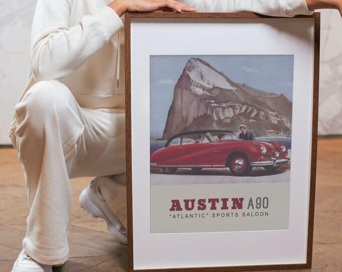 Austin A90 Atlantic Sports Saloon: Classic car poster | Classic car wall art | Classic car poster | Transport prints | Transport wall art