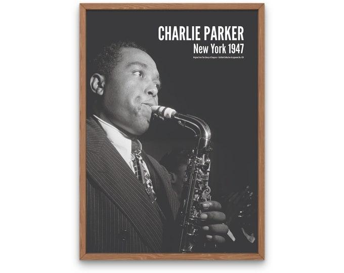 Charlie Parker: New York 1947 | Vertical Print | Wall Art | Office Décor | Art Print | Jazz Poster | The Golden Age of Jazz | Jazz Music
