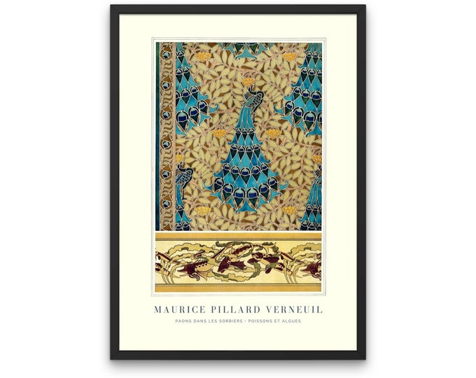 Peacocks in Rowan Trees: Maurice Pillard's warm living room decor as a poster print or office decorating ideas for work