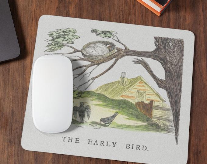 The Early Bird | Gaming Mousepad | Desk Organizer | Cute Desk Accessories | Cute Mousepad | Housewarming Gift | Coworker Gift
