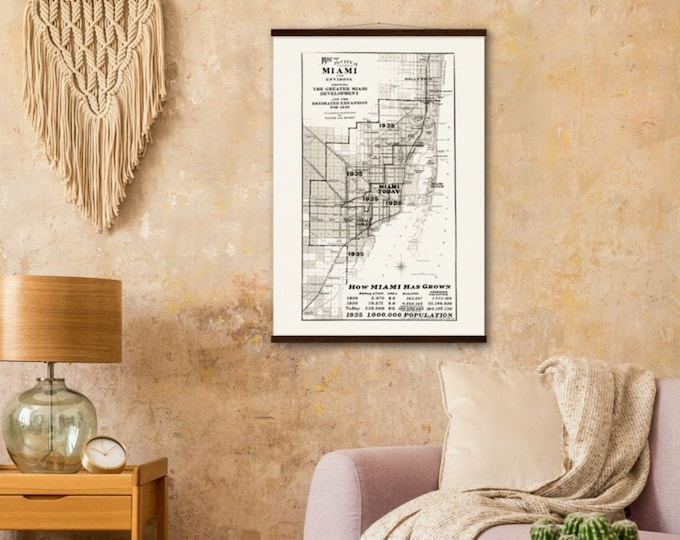 Art Print: Map of the city of Miami, 1935   Framed vintage maps   Vintage city maps   Vintage road maps   North America map