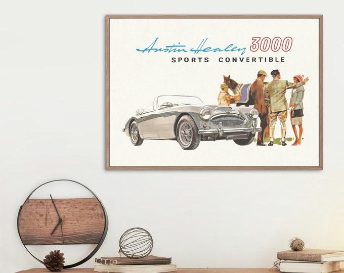 Austin Healey 3000 Sports Convertible: Classic car poster | Classic car wall art | Classic car poster | Transport wall art