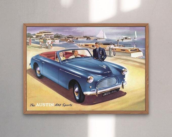 Austin A40 Sports: Classic car poster | Classic car wall art | Classic car poster | Transport prints | Transport wall art