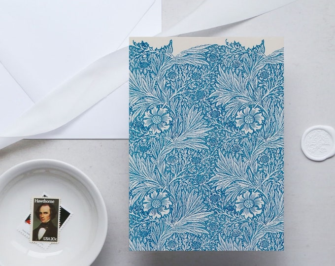 William Morris Greeting Card Set: Blue Marigold | Congratulation card | Blank Place card | Fine art greeting cards | William Morris gifts