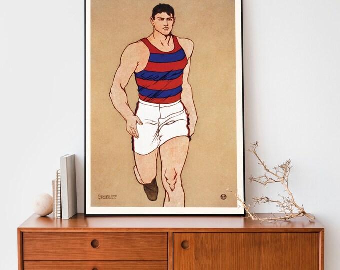Art Print: Athlete by Edward Penfield | Vertical Print | Wall Art | Office Décor | Art Print | Golden Age of American Illustration