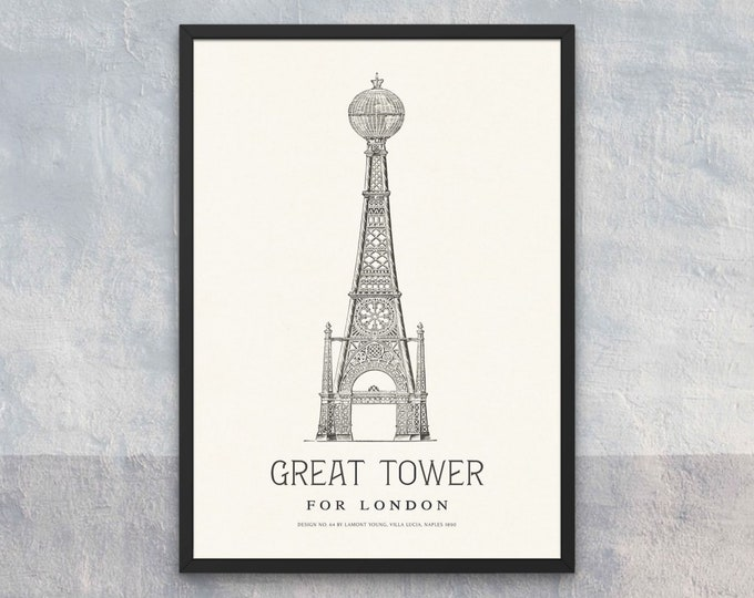 The Great Tower for London: Design No. 64 | Vertical Print | Wall Art | Office Décor | Art Print | Architecture Poster | Wembley Park London