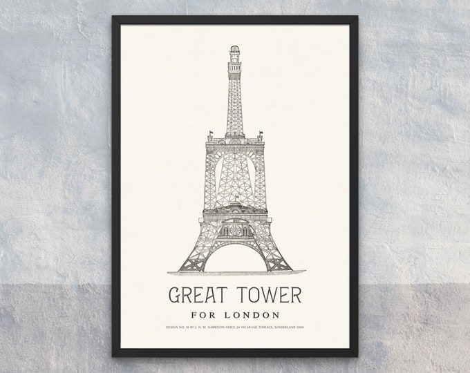 The Great Tower for London: Design No. 18 | Vertical Print | Wall Art | Office Décor | Art Print | Architecture Poster | Wembley Park London