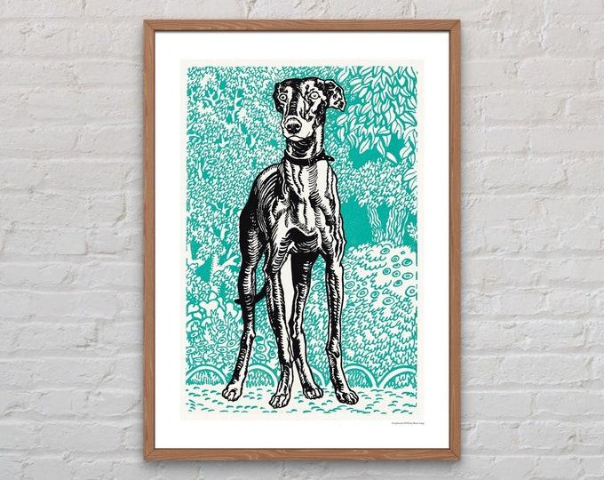 Art Print: Greyhound by Moriz Jung | Dog lover gift | Wall art | Vienna Secession | Wiener Werkstatte | Jugendstil