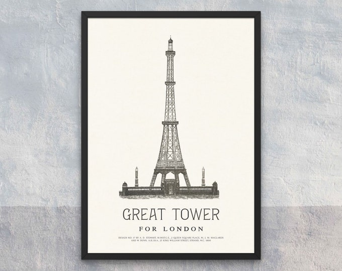 The Great Tower for London: Design No. 37 | Vertical Print | Wall Art | Office Décor | Art Print | Architecture Poster | Wembley Park London