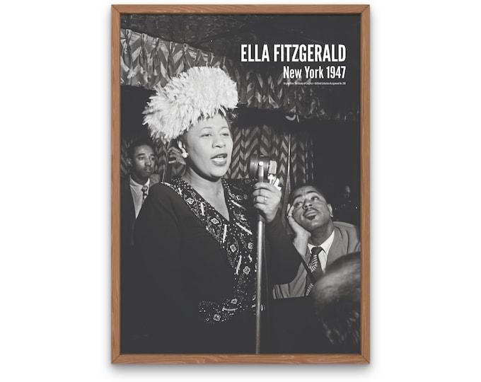 Ella Fitzgerald: New York 1947 | Jazz Musicians | Jazz Photo | Jazz Singer | Office Wall Art | Music Poster | Gift for Jazz Lover