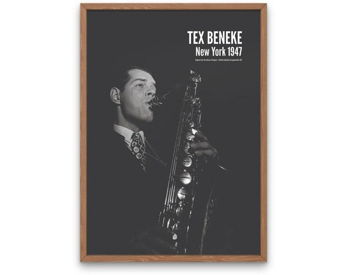 Tex Beneke: New York 1947 | Vertical Print | Wall Art | Office Décor | Art Print | Jazz Poster | The Golden Age of Jazz | Jazz Music