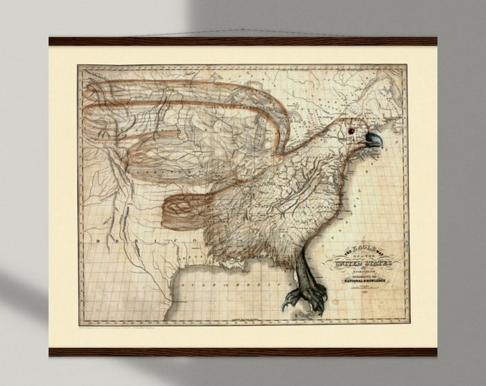 Art Print: Eagle Map of the United States | Framed vintage maps | Vintage city maps | Vintage road maps | North America map