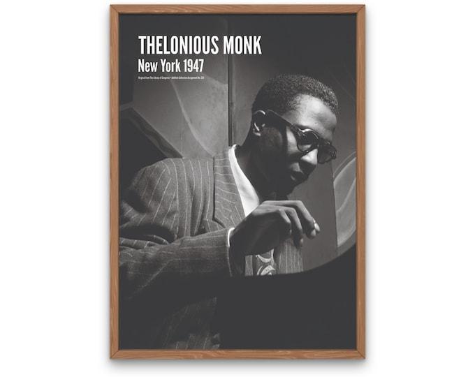 Thelonious Monk: New York 1947 | Vertical Print | Wall Art | Office Décor | Art Print | Jazz Poster | The Golden Age of Jazz | Jazz Music