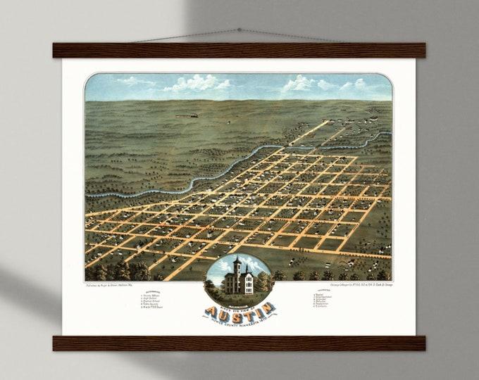 Art Print: Bird's eye view of Austin, Minnesota 1870   Framed vintage maps   Vintage city maps   Vintage road maps   North America map