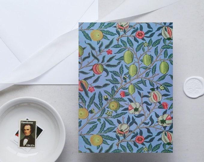William Morris Greeting Card Set: Pomegranate | Congratulation card | Blank Place card | Fine art greeting cards | William Morris gifts