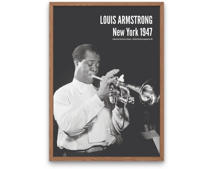 Louis Armstrong: New York 1947   Jazz Musicians   Jazz Photo   Satchmo   Louis Armstrong Art   Office Wall Art   Music Poster
