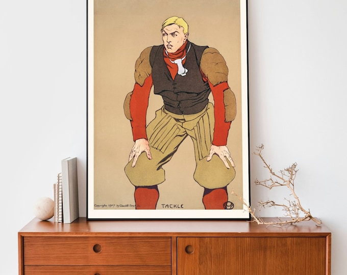 Art Print: American football player by Edward Penfield | Wall Art | Office Décor | Art Print | Golden Age of American Illustration