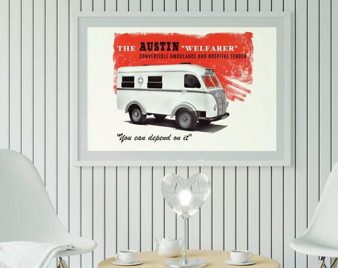 Austin Welfarer: Classic car poster | Classic car wall art | Classic car poster | Transport prints | Transport wall art