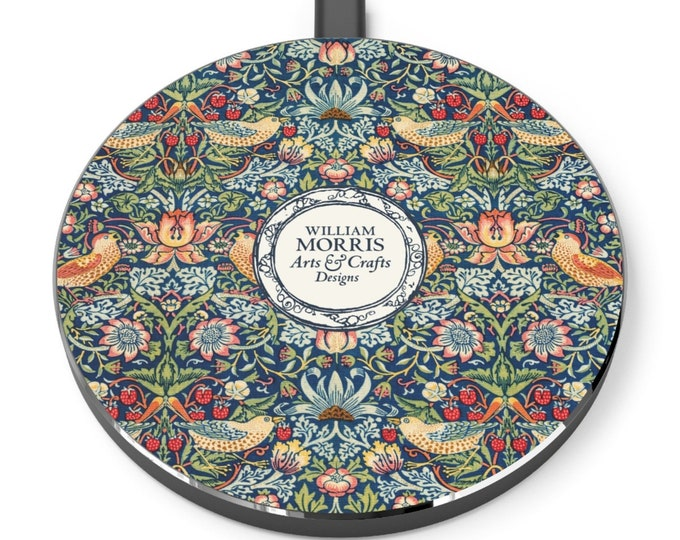 William Morris: Strawberry Thief | Desk Accessories | Docking Station | Qi Charger | Qi Wireless Charger | William Morris Gift