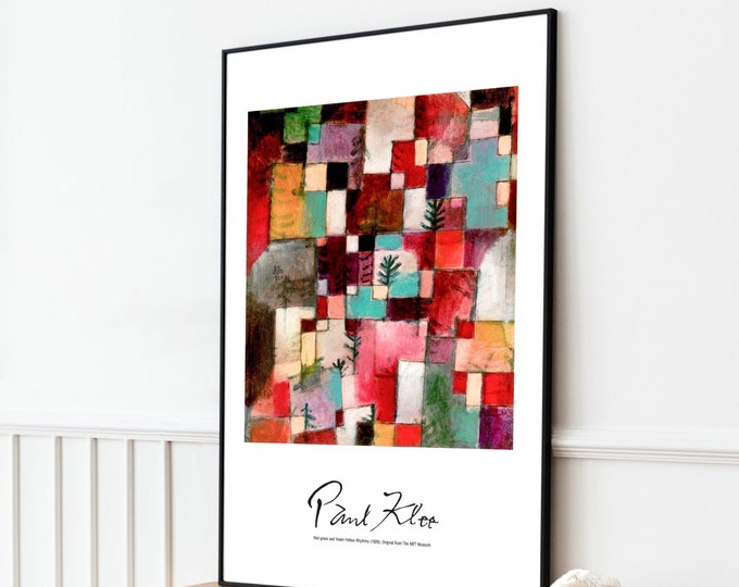 Paul Klee: Red Green & Violet–Yellow Rhythms | Vertical Print | Wall Art | Office Décor | Art Print | Expressionism | Cubism | Surrealism