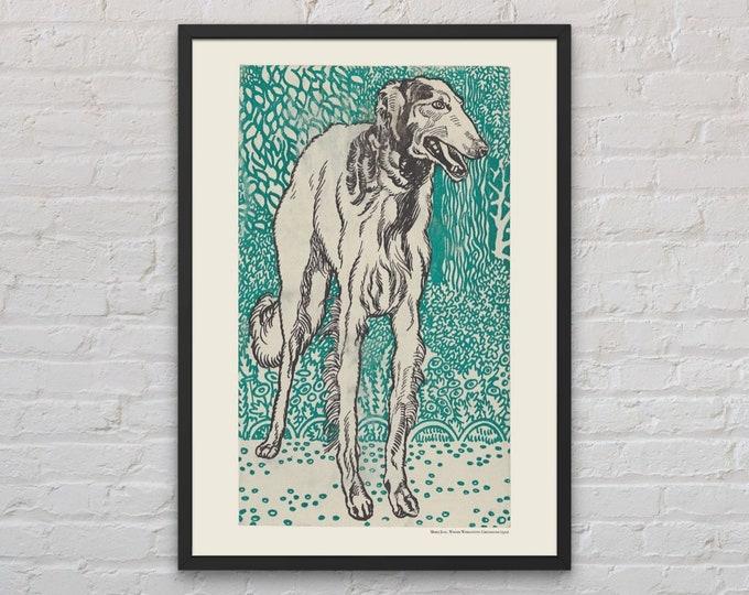 Moriz Jung: Greyhound | Dog lover gift | Wall art | Vienna Secession | Wiener Werkstatte | Jugendstil