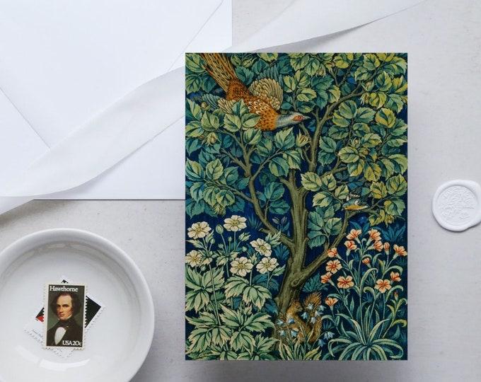 William Morris Greeting Card Set: Cock Pheasant | Congratulation card | Blank Place card | Fine art greeting cards | William Morris gifts