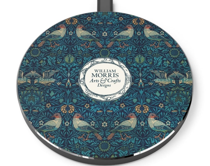 William Morris: Birds | Desk Accessories | Docking Station | Qi Charger | Qi Wireless Charger | Morris and Co | William Morris Gift