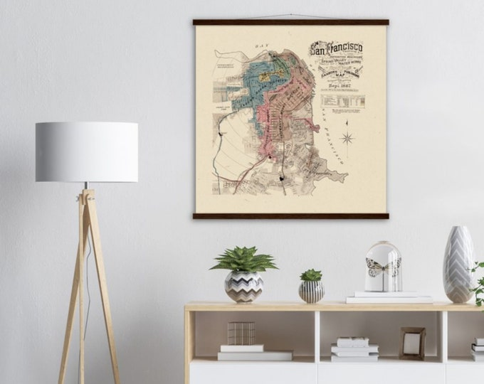 Art Print: Sanborn Fire Insurance Map, San Francisco 1887   Framed vintage maps   Vintage city maps   Vintage road maps   North America map