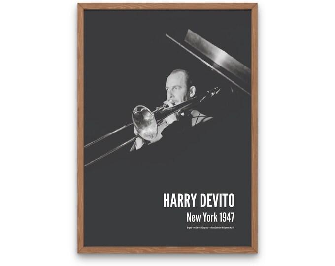 Harry Devito: New York 1947 | Vertical Print | Wall Art | Office Décor | Art Print | Jazz Poster | The Golden Age of Jazz | Jazz Music
