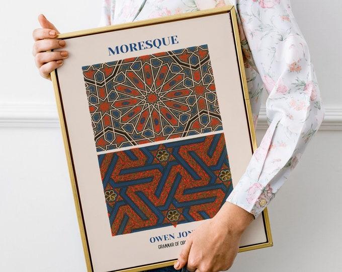 Owen Jones: Grammar of Ornament, Moresque | Vertical Print | Wall Art | Office Décor | Art Print | Design Sourcebook | Chromolithography
