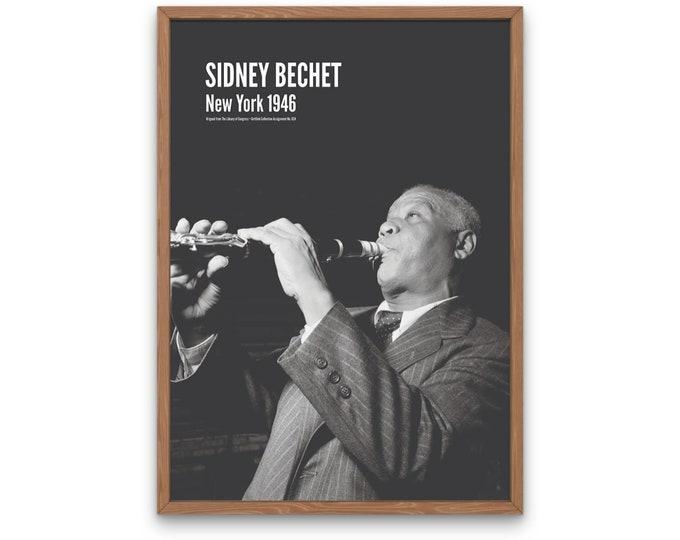 Sidney Bechet: New York 1946 | Vertical Print | Wall Art | Office Décor | Art Print | Jazz Poster | The Golden Age of Jazz | Jazz Music