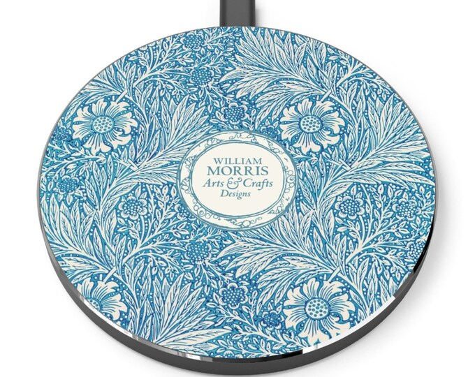 William Morris: Blue Marigold | Desk Accessories | Docking Station | Qi Charger | Qi Wireless Charger | Morris and Co | William Morris Gift